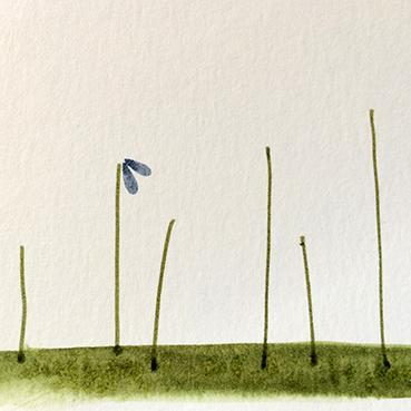 Nun kommt der schönste Part: setze die Pinselseite des Stiftes rechts neben dem Stil beginnend wie einen Stempel auf. Drehe das Blatt nach drei Tupfen. so lässt es sich besser zeichnen.