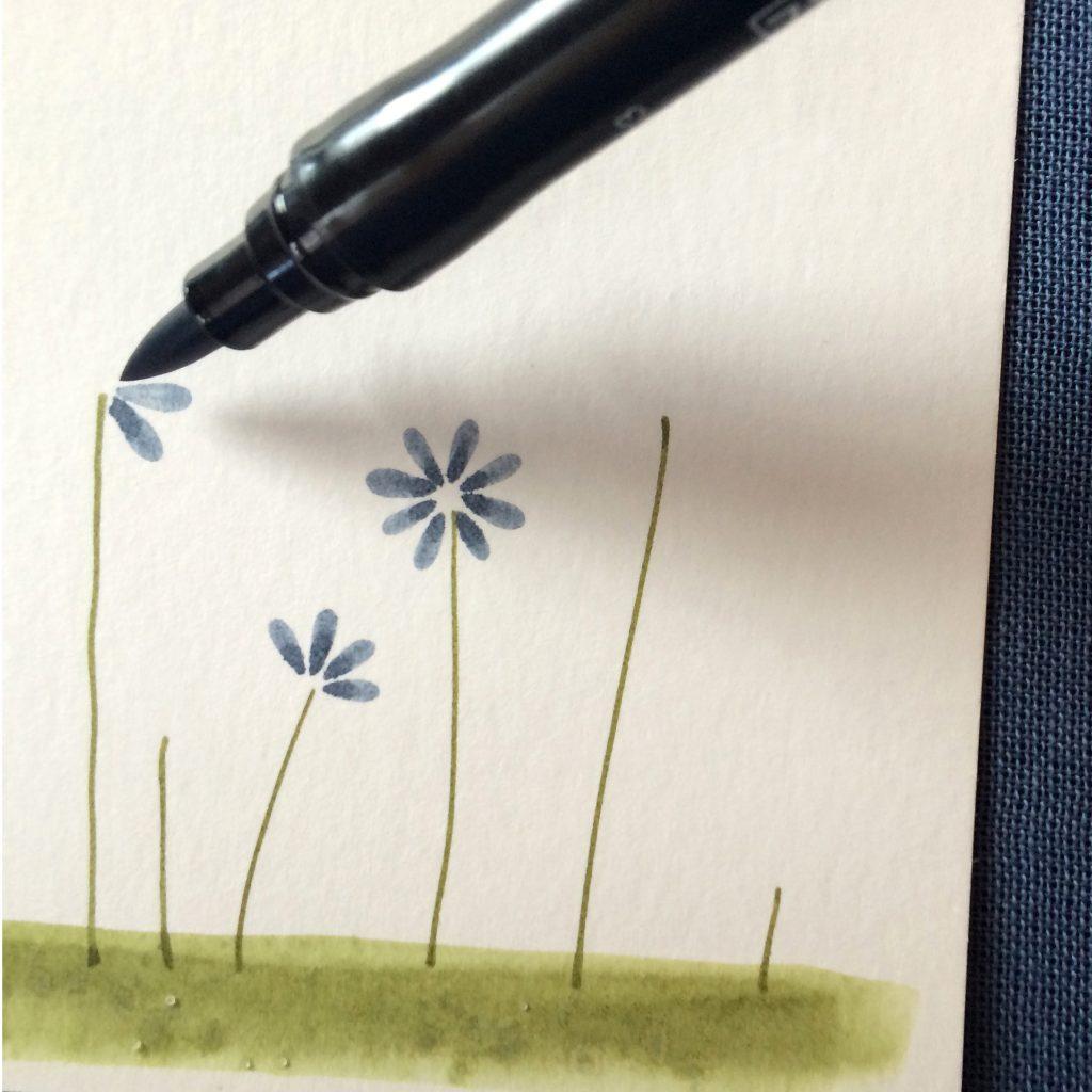 Lass Abstand zwischen den einzelnen Blütenblättern.